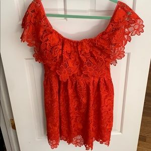 LOVERS & FRIENDS RED LACE OFF THE SHOULDER DRESS